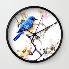 Bluebird and Dogwood, bird and flowers spring colors spring bird songbird design Wall Clock