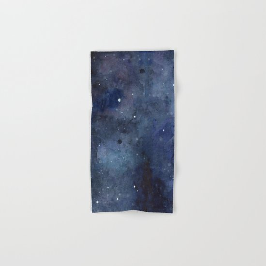 Galaxy Nebula Watercolor Night Sky Stars Outer Space Blue Texture Hand & Bath Towel