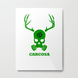 Carcosa Gas Mask Green Metal Print
