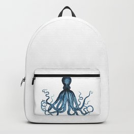 Octopus coastal ocean blue watercolor Backpack