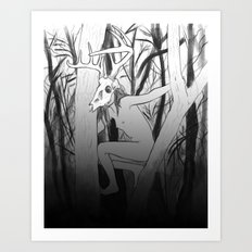 wounded stag Art Print