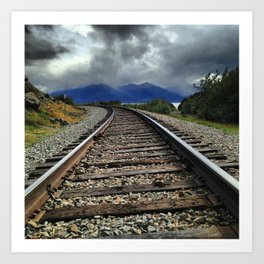 Train Tracks, Beluga Bay, Alaska Art Print