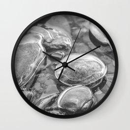 Ice Encased Rocks B&W Wall Clock