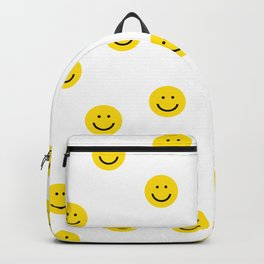 Smiley faces white yellow happy simple smiley pattern smile face kids nursery boys girls decor Backpack