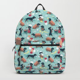 Hot dogs and lemonade // aqua background navy dachshunds Backpack