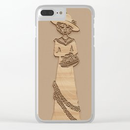 Victorian Ladies - Simulated Carved Wood Clear iPhone Case