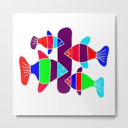 4 Fish - White lines Metal Print