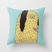 the dude Throw Pillows featuring Dude by MALKERM