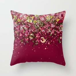 Purple drooping flowers Throw Pillow