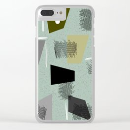 Mid-Century Modern Green Abstract Clear iPhone Case