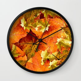 Fallen Autumn Leaves Wall Clock