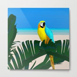 Parrot Tropical Banana Leaves Design Metal Print