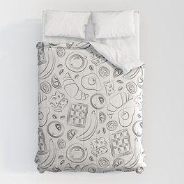Breakfast black and white pattern Comforters
