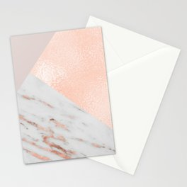 Blush pink layers of rose gold and marble Stationery Cards