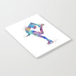 Ice Skating Girl Colorful Watercolor Art Sports Art Gift Notebook