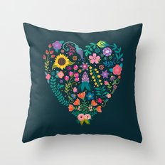 Floral Heart Throw Pillow