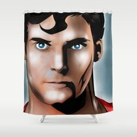 christopher walken Shower Curtains featuring Tribute: Christopher Reeves by JHC Studio