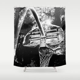 Black And White Basketball Art Shower Curtain