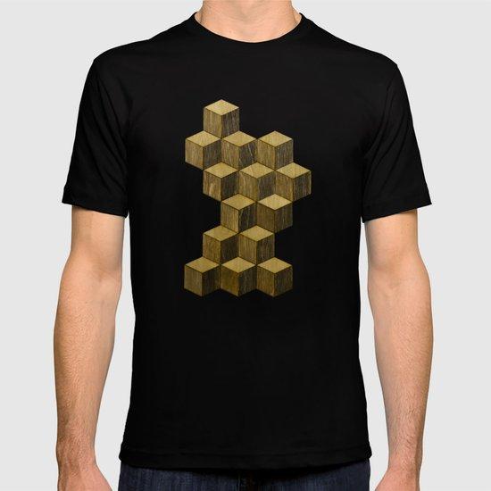 Optical wood cubes T-shirt
