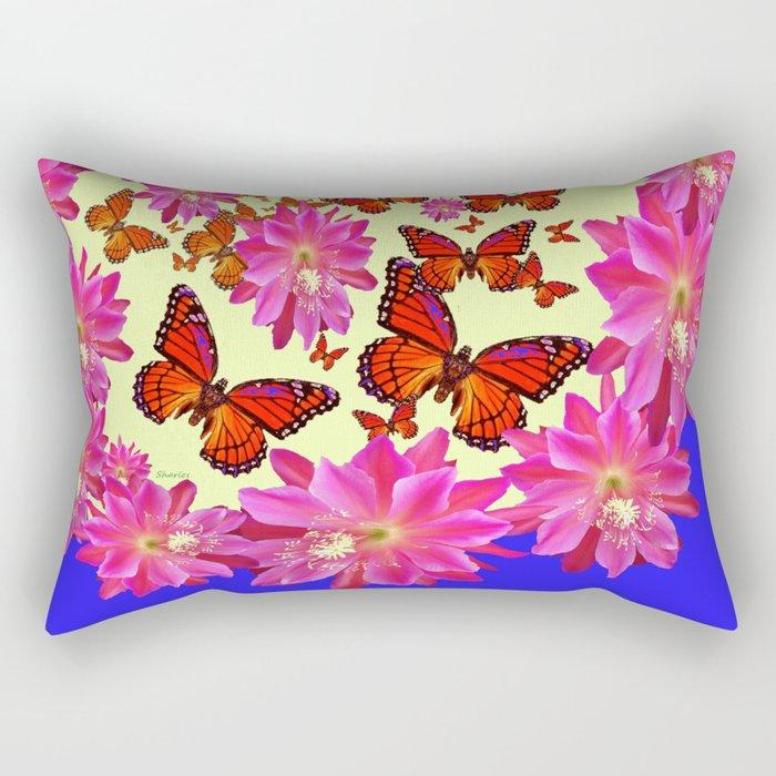 Blue & Yellow Butterflies  Pink Flowers Pattern Art Rectangular Pillow