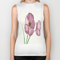 burgundy Biker Tanks featuring Burgundy Poppies by trabie