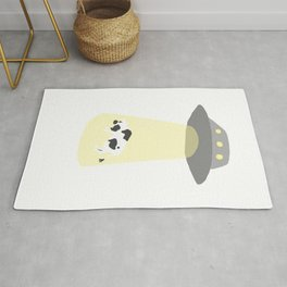 Spaceship Cow Abduction UFO Alien Moo Art Rug