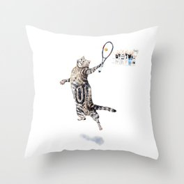Cat Playing Tennis Throw Pillow