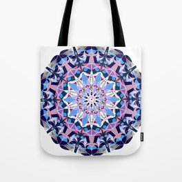 blue grey white pink purple mandala Tote Bag