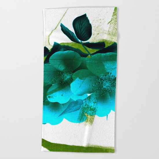 blue flowers and green abstract Beach Towel