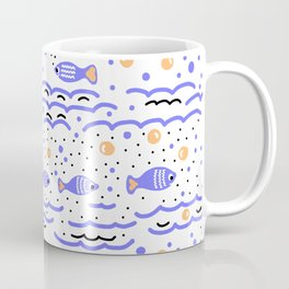 Little Blue Fish in the Sea , Waves and Water with Tiny School of Fishes Pattern Coffee Mug