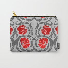 William Morris Pimpernel, Silver Gray and Red Carry-All Pouch