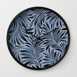 Ornate Leaves In Blue Black Color Pattern Wall Clock