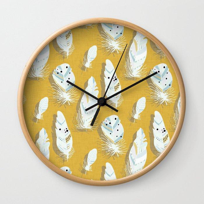 Feathers Mustard #homedecor Wall Clock