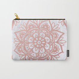 Rose Gold Mandalas on Marble Carry-All Pouch