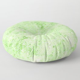 Greenery and white swirls doodles Floor Pillow