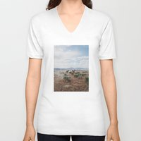 mountains V-neck T-shirts featuring Running Horses by Kevin Russ