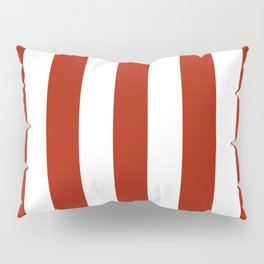 Rufous red - solid color - white vertical lines pattern Pillow Sham