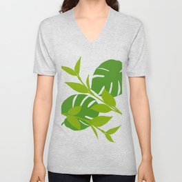 Simply Tropical Leaves with White background Unisex V-Neck