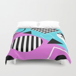 Stripes And Splats 1 - Wacky, Random, Abstract, Black And White Stripes, Blue and pink Artwork Duvet Cover