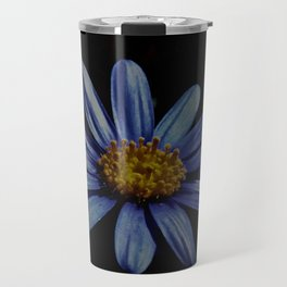 Blue Daisy On Black Travel Mug