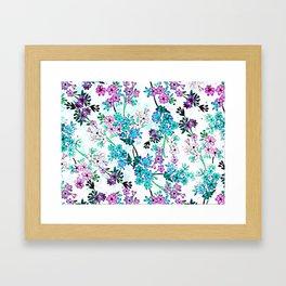 Turquoise Lavender Floral Framed Art Print