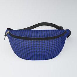 Cobalt Blue and Black Houndstooth Check Pattern Fanny Pack