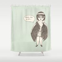 laura palmer Shower Curtains featuring LAURA by Winnifreds Daughter
