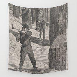 Vintage Illustration of a Lumberjack (1871) Wall Tapestry