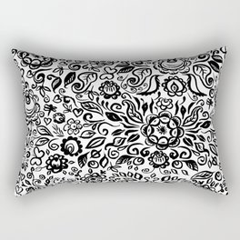 Vintage folk art floral ornament Black flowers on white background Rectangular Pillow