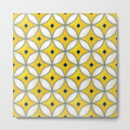 Mediterranean hand painted tile in Yellow, Blue and White Metal Print