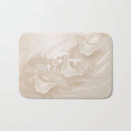 Fabulous butterflies and wattle with textured chevron pattern in subtle iced coffee Bath Mat