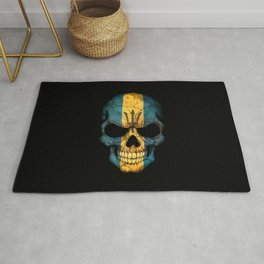 Dark Skull with Flag of Barbados Rug