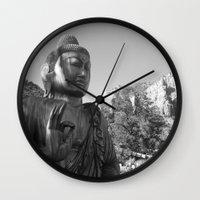 buddah Wall Clocks featuring Buddah by Nicolette Hand