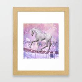 pink unicorn Framed Art Print